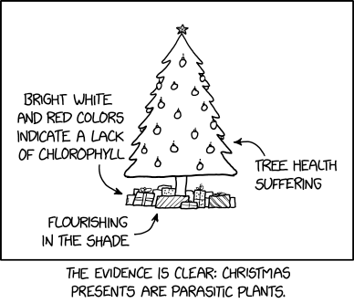 """""""The parasitism might be mediated by a fungus!"""" exclaimed the biologist who was trying to ruin Christmas again."""